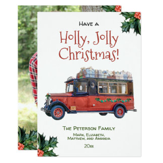Holly Jolly Christmas Vintage Bus Photo Christmas Card