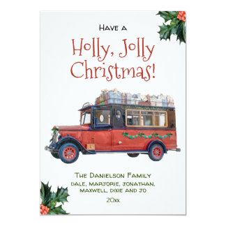 Holly Jolly Christmas Vintage Red Bus Christmas Card