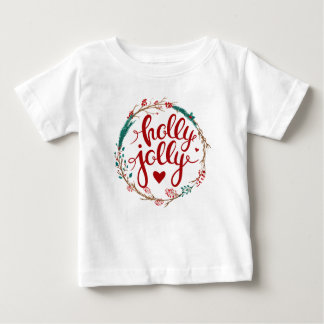 Holly Jolly Christmas Watercolor Wreath Baby T-Shirt