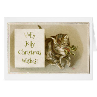 Holly Jolly Christmas Wishes Cat Card