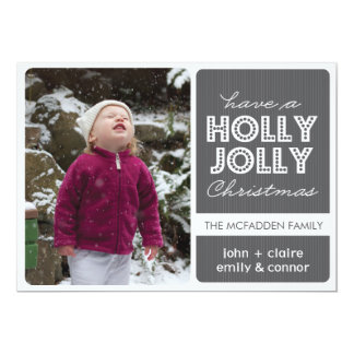 'Holly Jolly' (Graphite) Holiday Photo Card