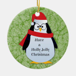Holly Jolly Hipster Santa Christmas Penguin Round Ceramic Ornament
