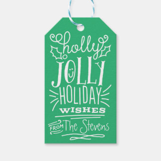 Holly Jolly Holiday Wishes Gift Tag