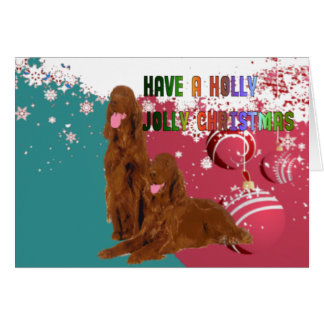 Holly Jolly Irish Setter Card