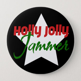Holly Jolly Jammer, Roller Derby Skating Christmas 4 Inch Round Button