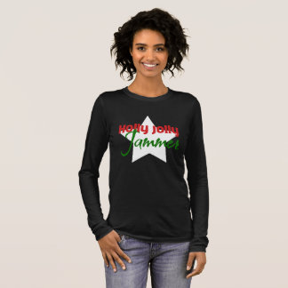 Holly Jolly Jammer, Roller Derby Skating Christmas Long Sleeve T-Shirt