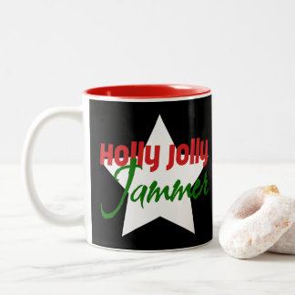 Holly Jolly Jammer, Roller Derby Skating Christmas Two-Tone Coffee Mug