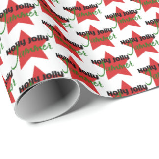 Holly Jolly Jammer, Roller Derby Skating Christmas Wrapping Paper