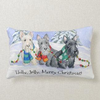Holly, Jolly, Merry Christmas Scottie Trio Lumbar Pillow