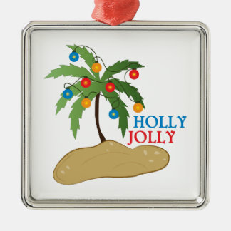 Holly Jolly Metal Ornament