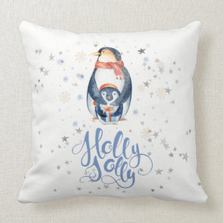 Holly Jolly Modern Typography & Christmas Penguins Throw Pillow