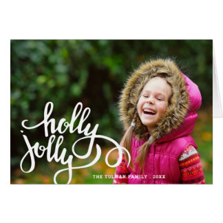 Holly Jolly Photo Holiday Greeting Card | Beige