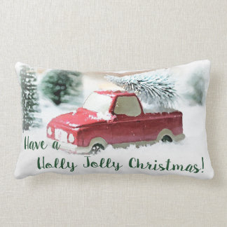 Holly Jolly Red Christmas Truck Throw Pillow