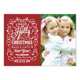 Holly Jolly Red White Christmas Holiday Photo Card
