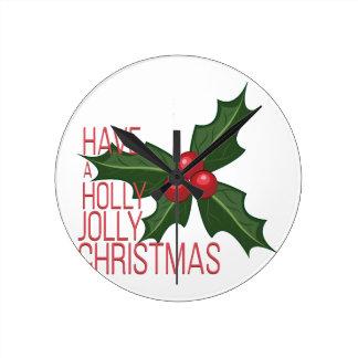 Holly Jolly Round Clock