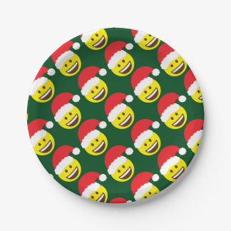 Holly Jolly Santa Emoji Paper Plate