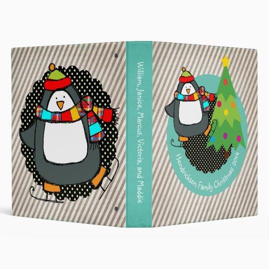 Holly Jolly Skating Penguins Binder