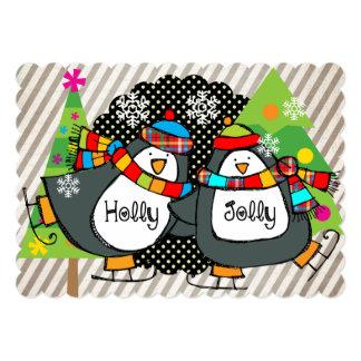 Holly Jolly Skating Penguins Holiday Card