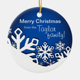 Holly Jolly Snowflakes Christmas Photo  sapphire Ceramic Ornament