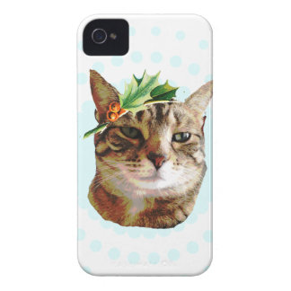 Holly Jolly Tabby Cat Christmas iPhone 4 Cases