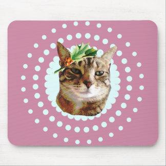 Holly Jolly Tabby Cat Christmas Mouse Pad