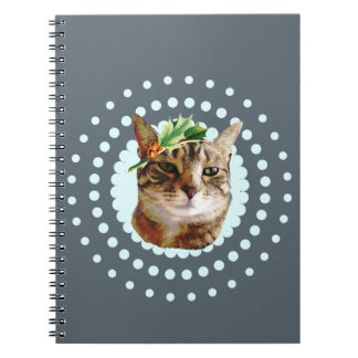 Holly Jolly Tabby Cat Christmas Spiral Note Book
