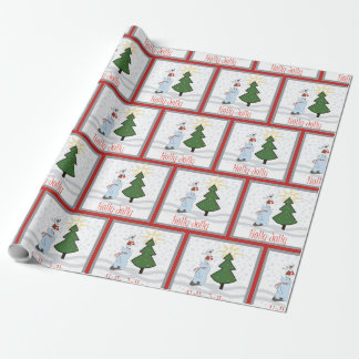 Holly Jolly Trio of Tree Trimmers wrapping paper