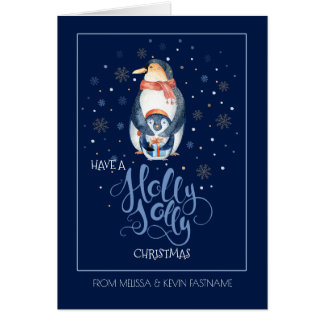 Holly Jolly Typography & Christmas Pinguin Card