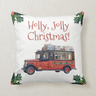 Holly Jolly Vintage Bus with Presents Christmas Throw Pillow