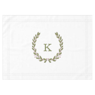 Holly Laurel Wreath Monogram Holiday Tablecloth
