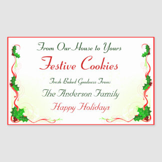 Holly Leaf and Red Ribbon Holiday Food Sticker