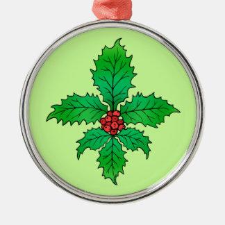 Holly leaf Fleur de lis Metal Ornament