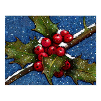 Holly Leaves and Berries With Snow Falling Postcard