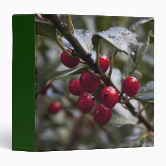 holly leaves and red berries, winter vinyl binders