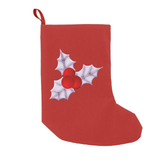 Holly Leaves & Berries Red Christmas Stockings