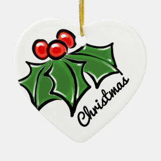 Holly leaves ceramic ornament