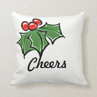 Holly Leaves - cheers Throw Pillow