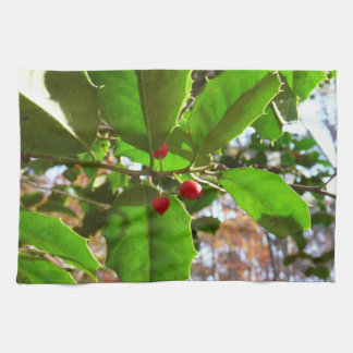 Holly Leaves II Holiday Nature Botanical Kitchen Towel