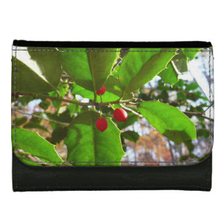 Holly Leaves II Holiday Nature Botanical Women's Wallets