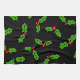 Holly Leaves Kitchen Towel