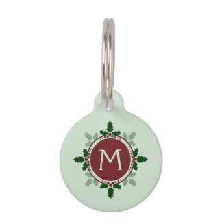Holly Leaves Monogram Green Red Christmas Holidays Pet Tag