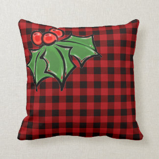 Holly Leaves - plaid back ground Throw Pillow