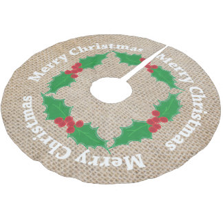 Holly Leaves & Red Berries on Burlap Background Brushed Polyester Tree Skirt
