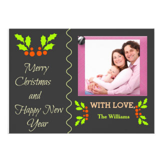 Holly Merry Christmas Happy New Year Photo Card