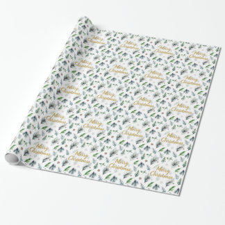 holly merry christmas wrapping paper white
