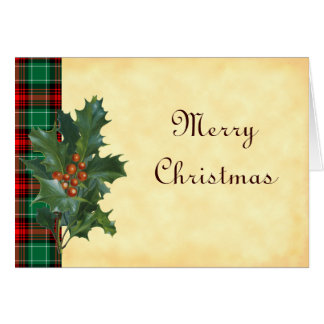 Holly on Red Green Christmas Plaid Custom Cards