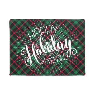 Holly Plaid l Happy Holidays To All Doormat