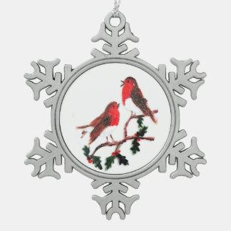Holly Robin Festive Art Pewter Snowflake Ornament