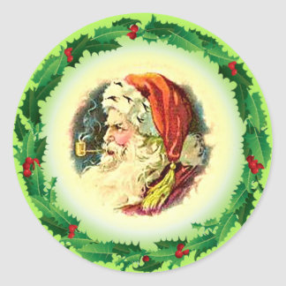 HOLLY & SANTA by SHARON SHARPE Classic Round Sticker