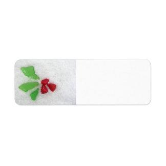 """Holly"" Sea Glass on Snow Return Address Label"